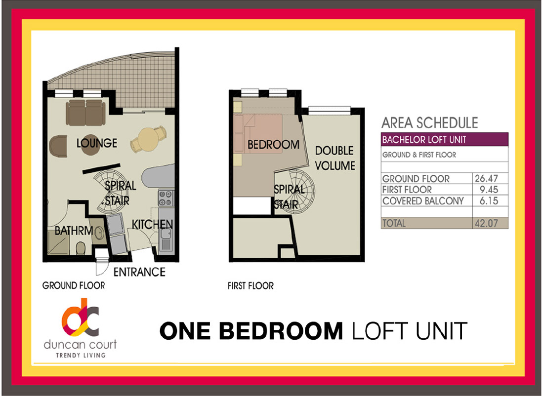 One bedroom loft unit for 2 bedroom with loft